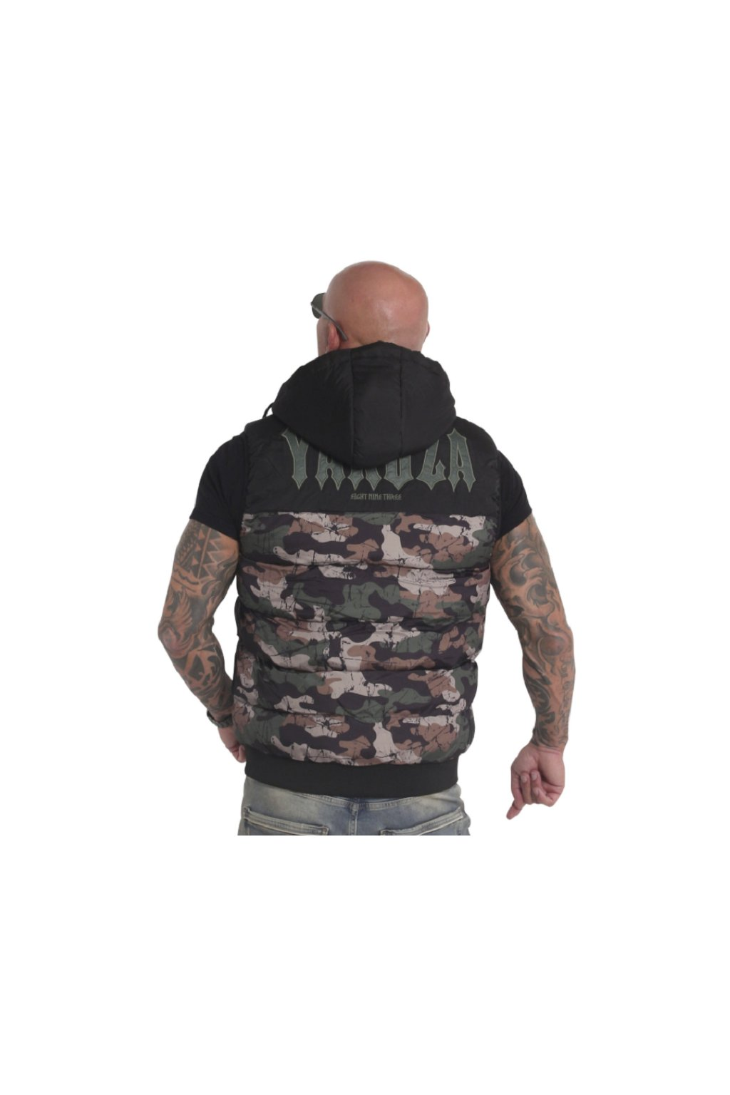Pánská vesta s kapucí Yakuza Fck Society 18035 camouflage