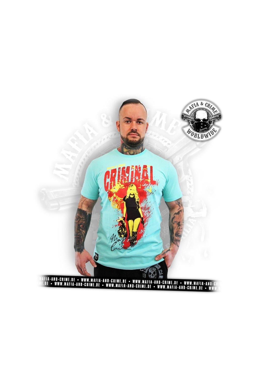 Pánské triko Mafia & Crime Criminal Lady Shirt turkis obr1