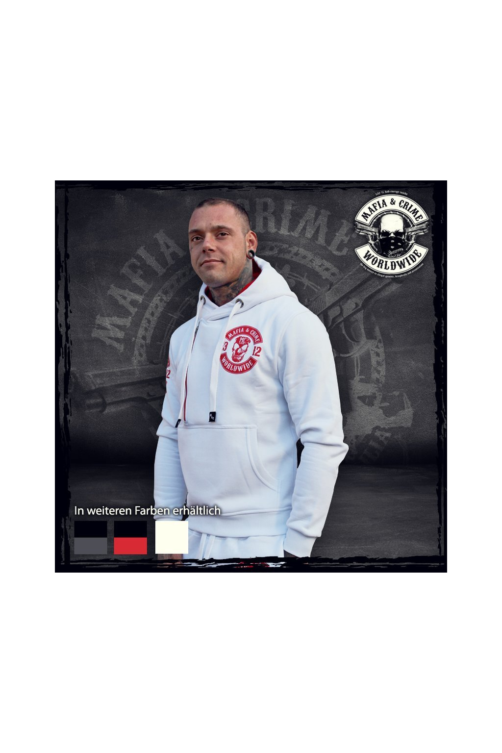 Pánská mikina Mafia & Crime 1312 Patch Hoodie bílá obr1