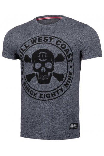 Pánské triko PIT BULL WEST COAST - Custom Fit Skull navy melange obr1