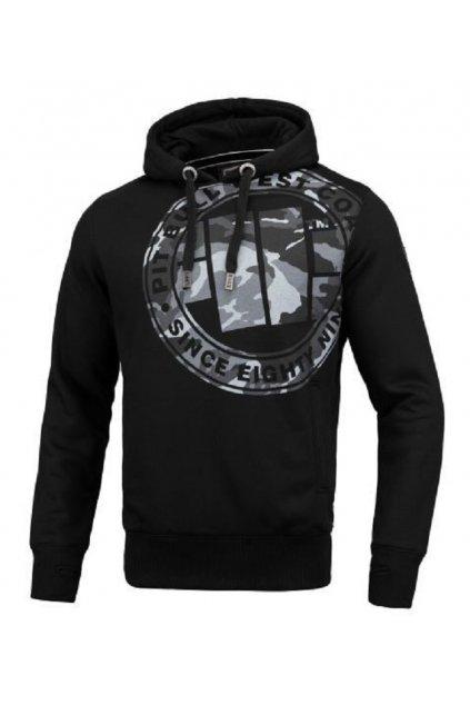 PitBull West Coast - pánská mikina s kapucí All Black Camo černá obr1