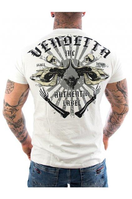 Pánské triko Vendetta Inc. Skull Bones 1089 bílá obr1