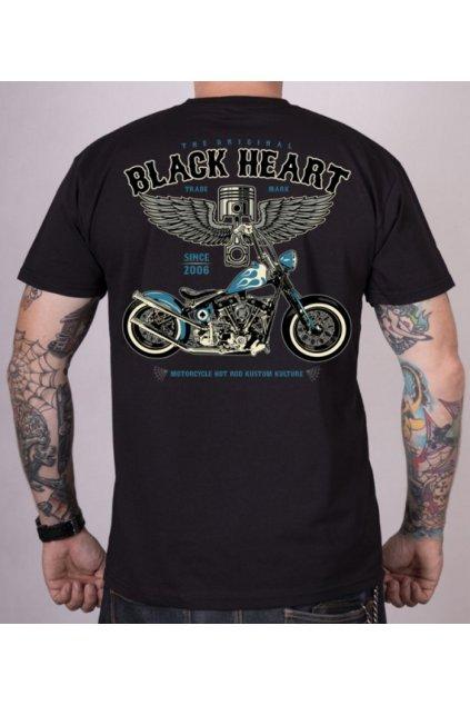 Pánské Triko BLACK HEART BLUE CHOPPER přední strana