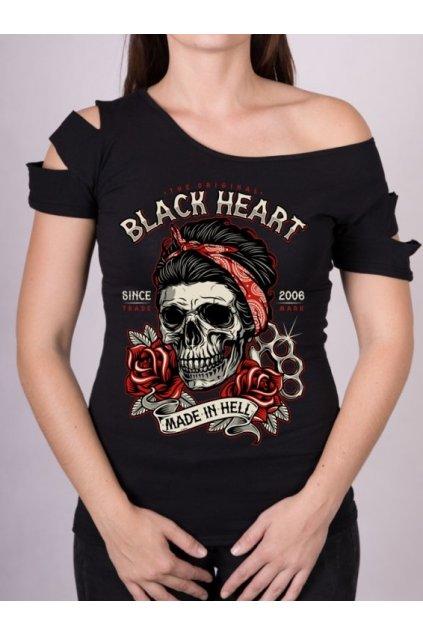 Dámské Triko BLACK HEART JENY SKULL DESTROY přední strana