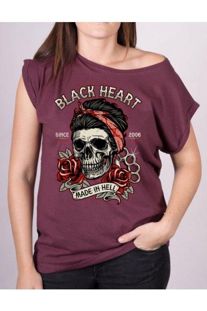 Dámské Triko BLACK HEART JENY SKULL EXT přední strana