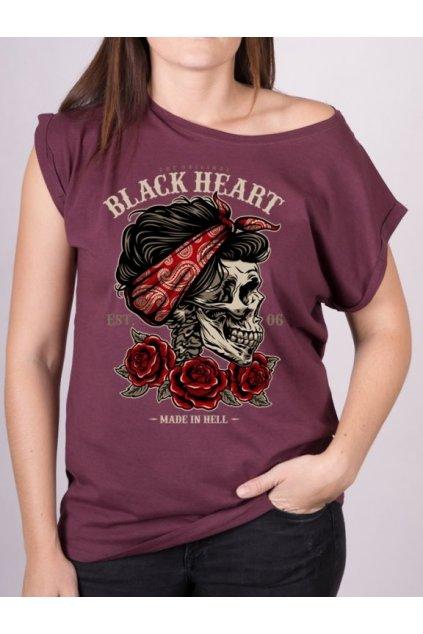 Dámské Triko BLACK HEART PIN UP SKULL EXT přední strana