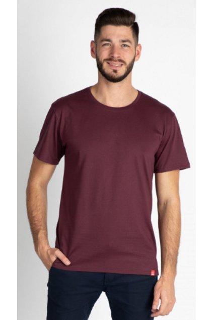 CityZen bavlněné triko Basic vínové kulatý střih obr1