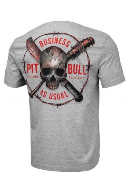 Pánské triko PITBULL WEST COAST - BUSINESS US USUAL GREY MELANGE obr1