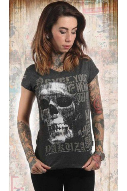 Dámské triko Yakuza GSB 12114 Diamond Skull V-NECK obr1