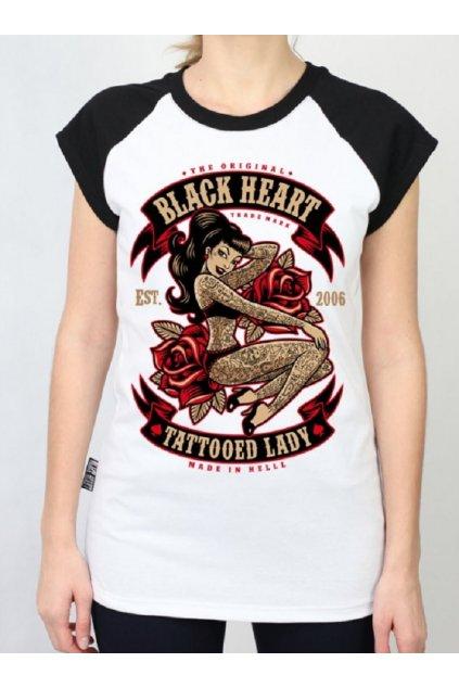 Dámské Triko BLACK HEART TATTOOED LADY RG přední strana