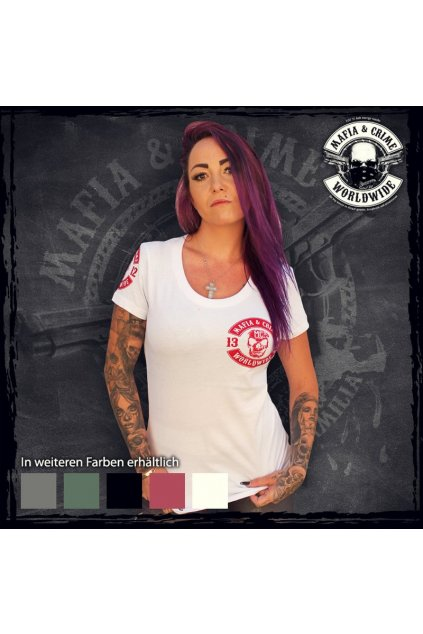 Mafia & Crime dámské triko MC Patch bílá obr1