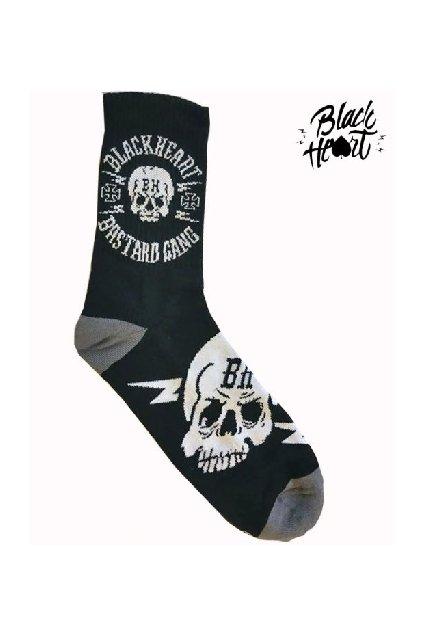 Ponožky BLACK HEART BASTARD SKULL BLK přední strana