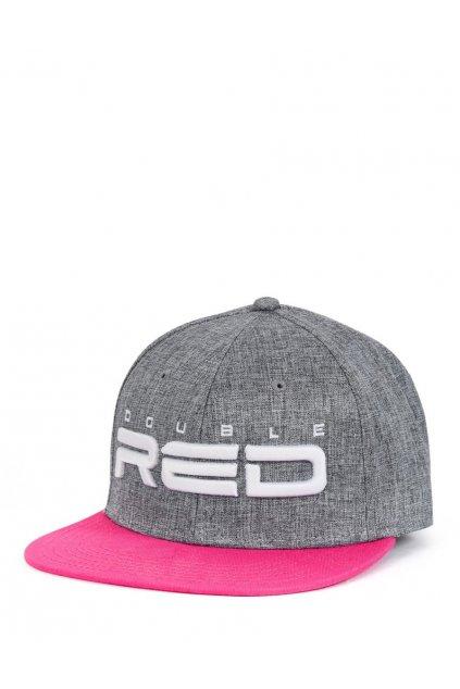 Dámská kšiltovka STREETGIRL DOUBLE RED Snapback Melange 3D Embroidery Grey/Pink obr1