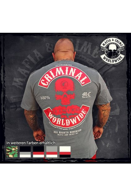Mafia & Crime pánské triko MC Worldwide Gray red obr1