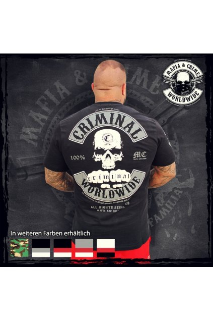 Mafia & Crime pánské triko MC Worldwide černo bílá obr1