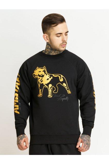 Pánská mikina Amstaff Logo Sweater černo zlatá přední strana