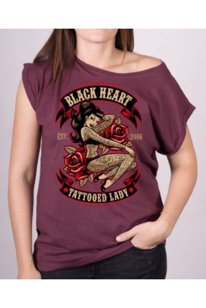 Dámské Triko BLACK HEART TATTOOED LADY EXT přední strana