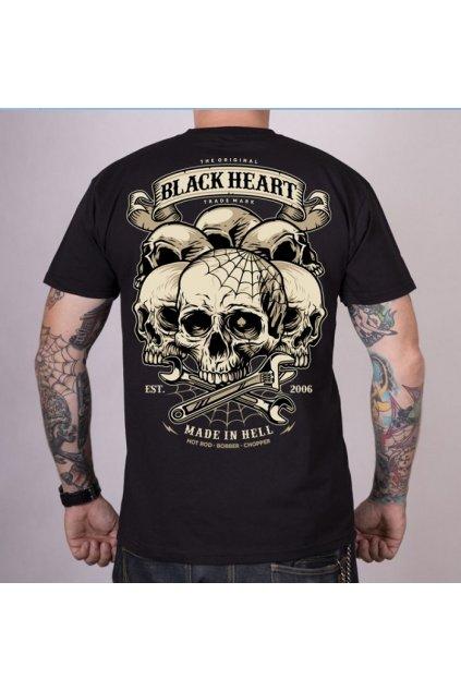 Pánské triko Black Heart Hill Skull přední strana