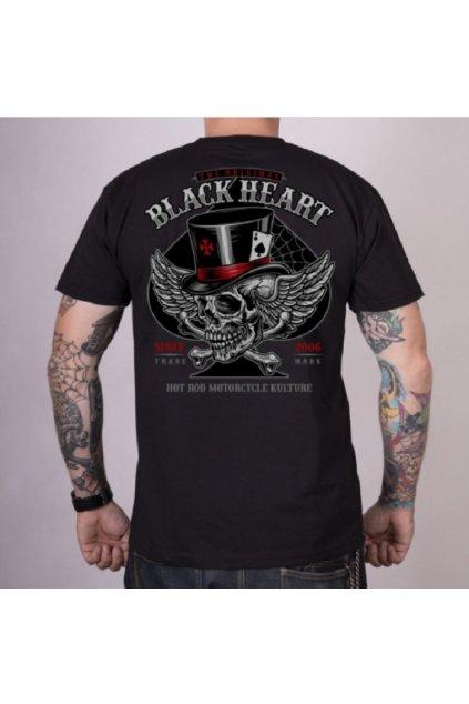Pánské triko Black Heart HAT SKULL přední strana