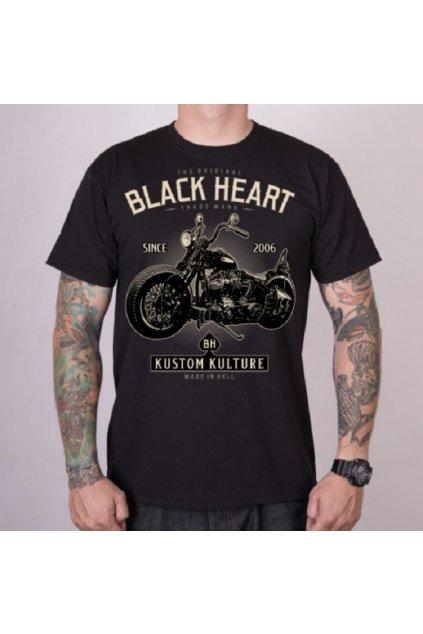 Pánské triko Black Heart MOTORCYCLE přední strana
