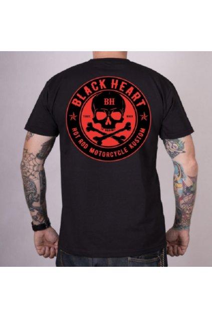 Pánské triko Black Heart RED SKULL přední strana