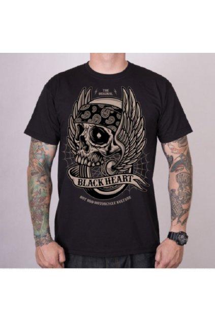 Pánské triko Black Heart WINGS SKULL přední strana