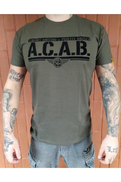 Pánské triko Radical Wear ACAB olivová obr1