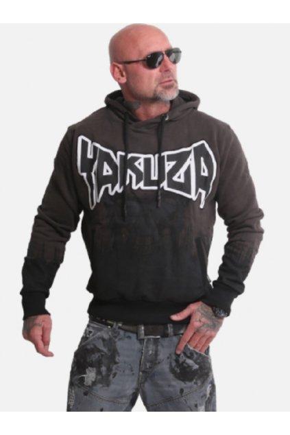 Pánská mikina s kapucí Yakuza Splatter Skull Hoodie HOB 17003 černá obr1