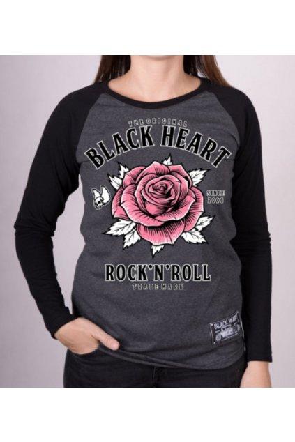 Dámské Triko BLACK HEART ROCK N ROLL ROSE RG přední strana