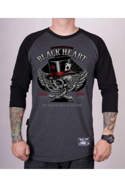 Pánské Triko BLACK HEART HAT SKULL LS přední strana