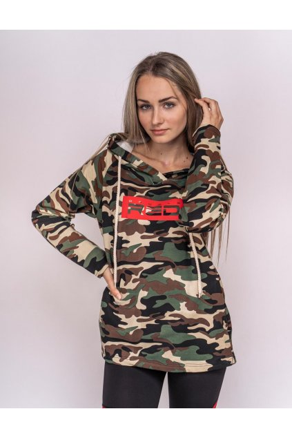 Dámská mikina Double red Hoodie Neon Collection Camo obr1