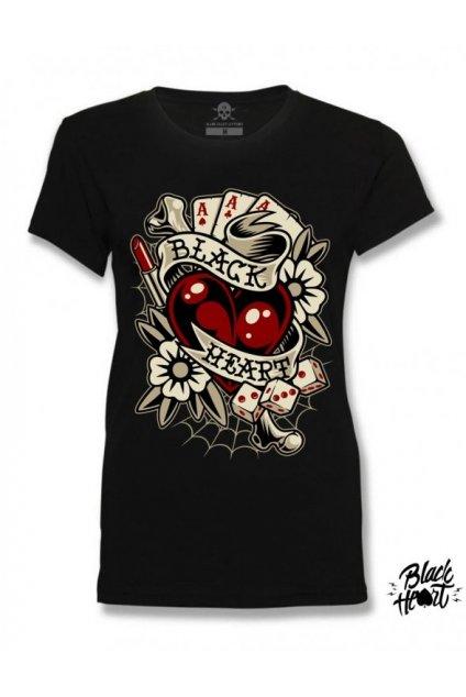 Dámské Triko BLACK HEART ROCKABILLY HEART přední strana