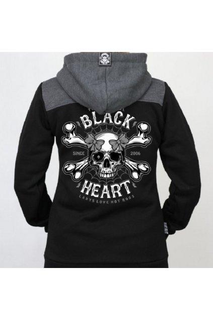Dámská Mikina BLACK HEART DEATH PIN UP přední strana