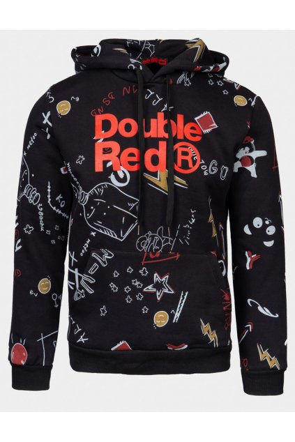 Double Red pánská mikina DOUBLE FUN TRADEMARK Hoodie Black obr1