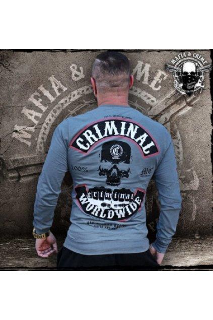 Mafia & Crime pánské triko s dlouhým rukávem MC Worldwide anthrazit obr1