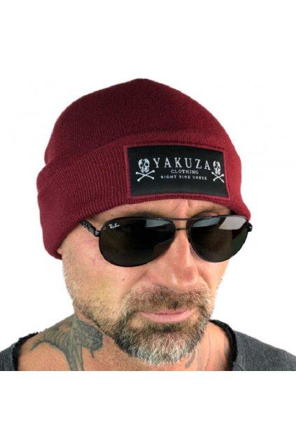 Pletená zimní čepice YAKUZA Knit Beanie YB 13303 ruby wine obr1