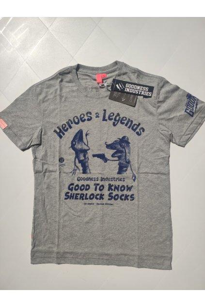 Pánské triko Goodness Industries Sherlock šedá