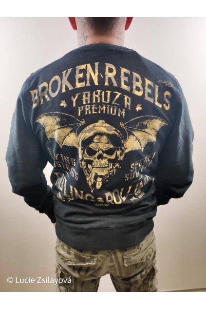 Yakuza Premium pánská mikina bez kapuce Broken Rebels černá