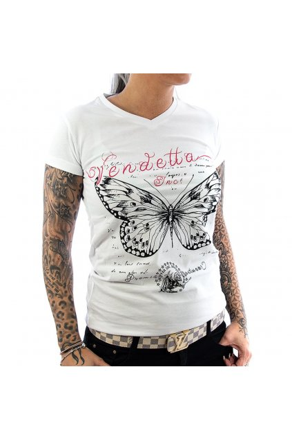 Vendetta dámské triko Butterfly VD-0012 white