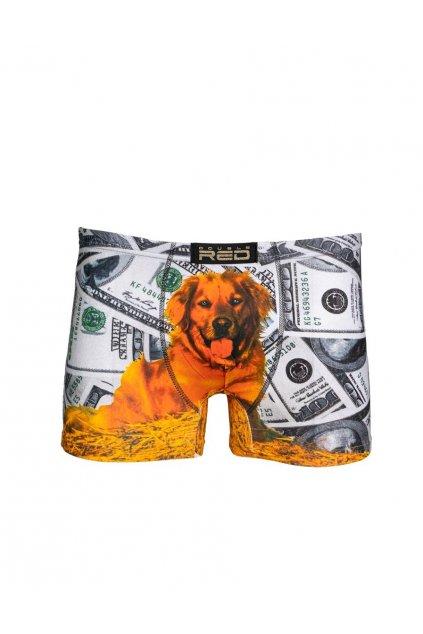 Double Red pánské boxerky 2FUN Boxeři Dolar Dog Grey