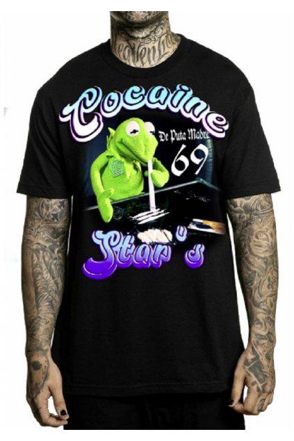 """Pánské triko DePuta Madre 69 """"Fear"""" s výstřihem do kokainové hvězdy 01 černé"""
