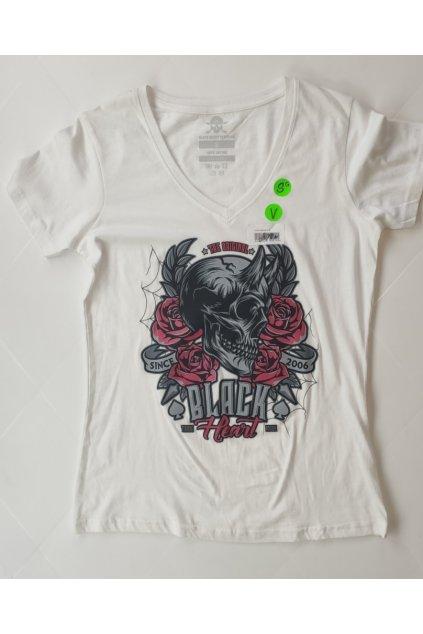 Dámské Triko BLACK HEART Devil Rose V bílé