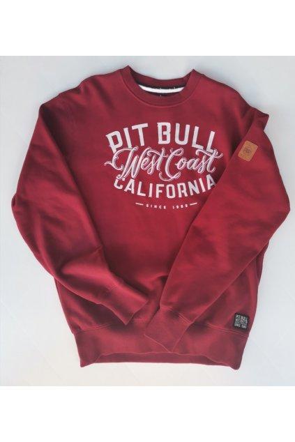 PitBull West Coast pánská mikina CALIFORNIA burgundy