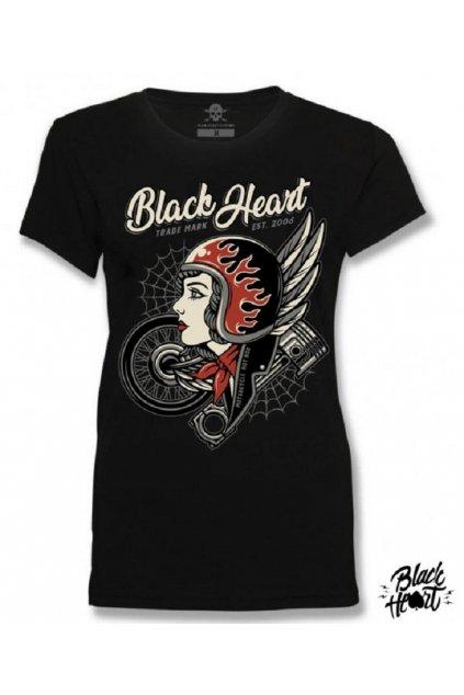 Dámské Raglanové Tričko BLACK HEART MOTORCYCLE GIRL