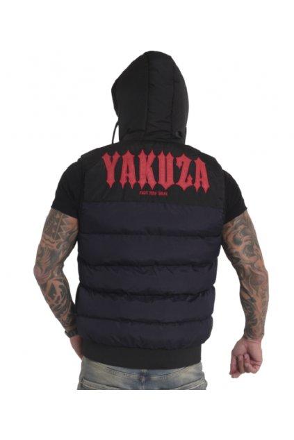 Pánská vesta s kapucí Yakuza Fck Society 18035 modrá / černá