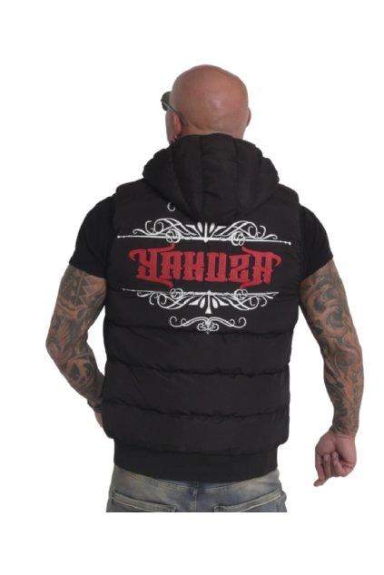 Pánská vesta s kapucí Yakuza Felt Logo V02 18062 černá