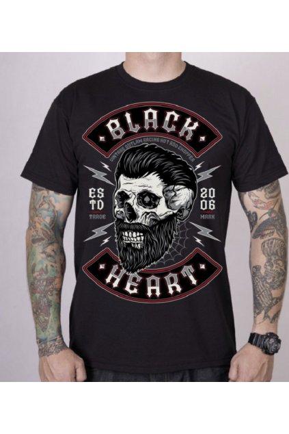 Pánské triko Black Heart BEARD SKULL