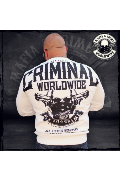 Pánská mikina Mafia & Crime MC Criminal bílá obr1
