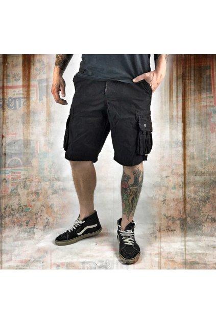 Yakuza cargo šortky SKULL LABEL CSB 10060 Black obr1