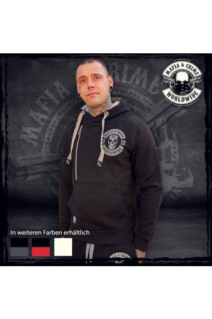 Pánská mikina Mafia & Crime 1312 Patch Hoodie schwartz grau obr1